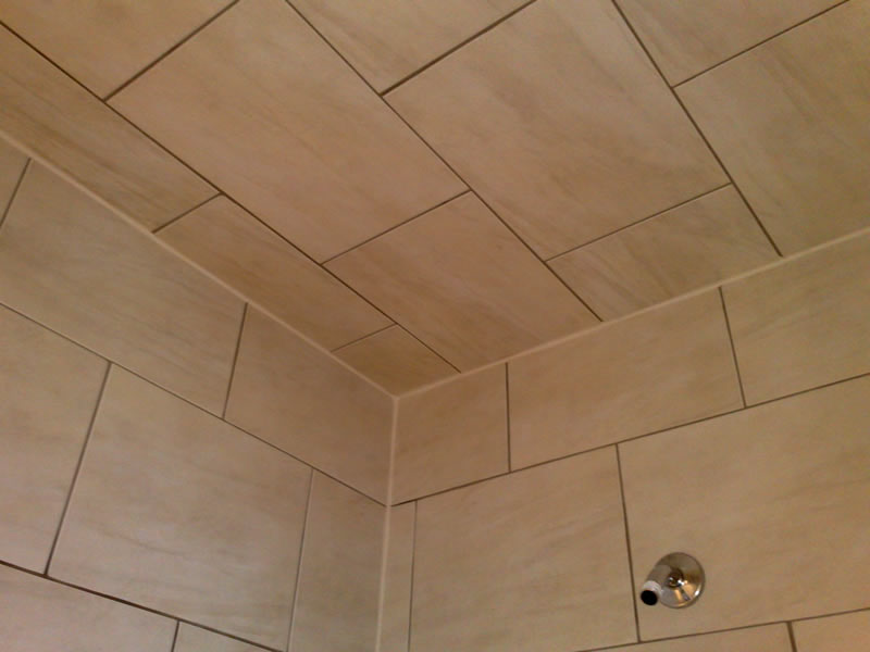 tiled walk-in shower area