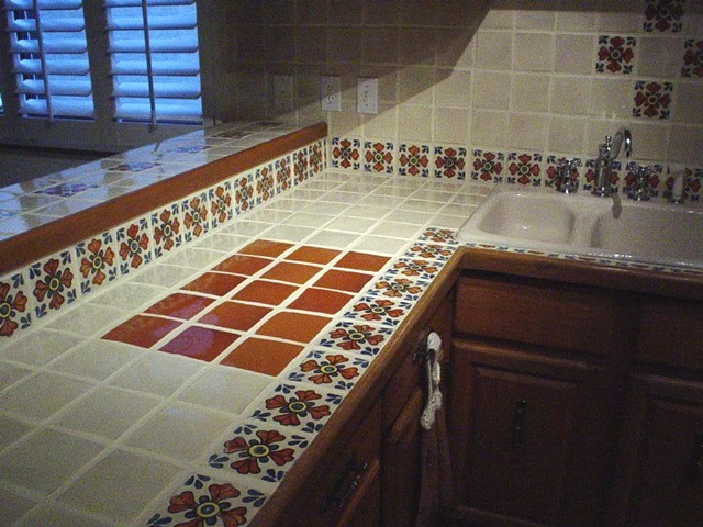 new tiled kitchen countertop