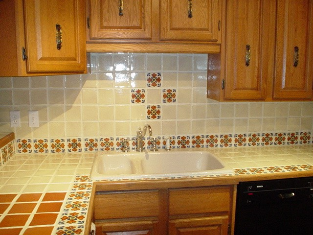 tiled kitchen countertop and backsplash