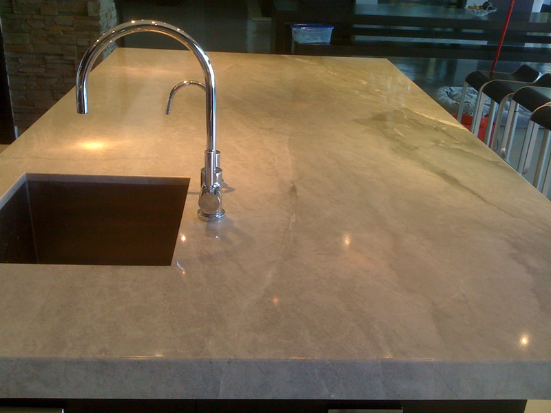 polished marble kitchen island