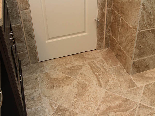 1. PORCELAIN TILE / LIMESTONE FINISH WITH BORDERS AND WALLS