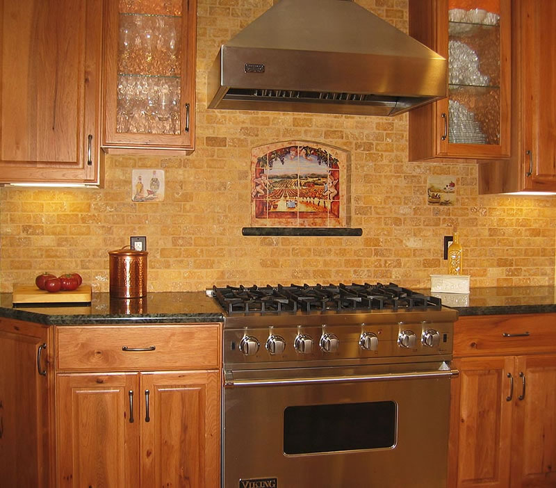 backsplash with a design above the stove