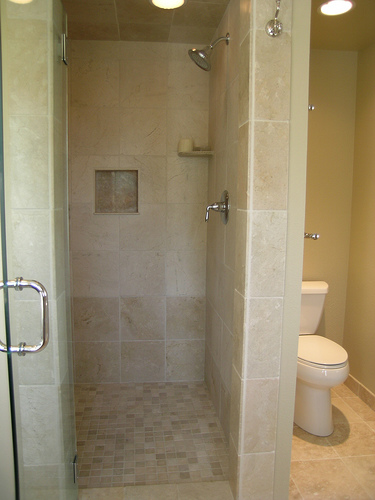 limestone walk-in shower